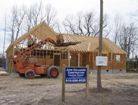Home under construction in Wilmington NC by general contractor John Gallagher Construction